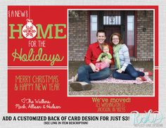 Christmas Cards . Holiday Card Set . Moving Announcement Christmas ...