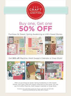 Purchase a kit, then we'll email you a coupon to get a different kit for 50% off! Only valid until April 26 and while supplies lasts, so order today at www.craftjunction.com!