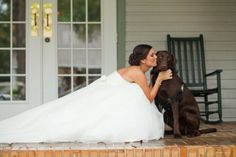 The bride with her dog.