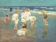 A Holiday - Edward Henry Potthast 1915 Edward Henry Potthast (June 1857 – March was an American Impressionist painter. He is known for his paintings of people at leisure in Central Park, and on the beaches of New York and New England.