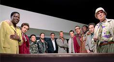 """Ocean's Eleven"" cast photo, 2001.  L to R: Bernie Mac, Casey Affleck, Shaobo Qin, Scott Caan, George Clooney, Brad Pitt, Matt Damon, Elliott Gould, Don Cheadle, Eddie Jemison, Carl Reiner."