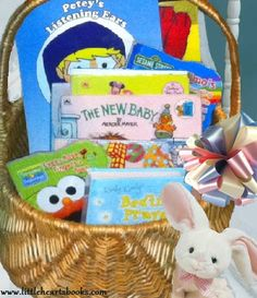 Make a baby book basket as a starter library for a baby shower or first birthday gift www.littleheartsbooks.com