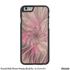 Fractal Pink Flower Dream, floral Fantasy Pattern Carved® Maple iPhone 6 Case