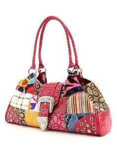 Pink Signature Patchwork Large Satchel Handbag - http://handbagscouture.net/brands/handbag-incorporated/pink-signature-patchwork-large-satchel-handbag-3/