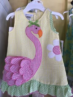 Bonnie Jean R29277-PV Yellow Flamingo Seersucker