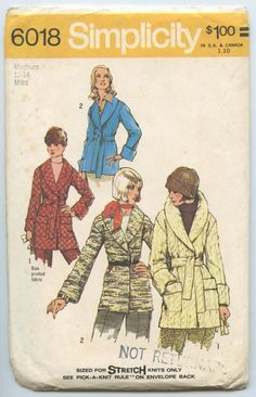 1970s Simplicity 6018 Misses Front Wrap Jacket by GreyDogVintage