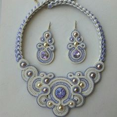 Soutache Pendant, Soutache Necklace, Necklace Set, Boho Jewelry, Jewelry Design, Unique Jewelry, Bead Embroidery Jewelry, Beaded Embroidery, Diy Earrings