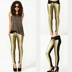 ***HP***Gold sequin and black jeans✨ ***HOST PICK***Look at these BEAUTIES! gold sequin jeans with black in the back✨Size 27 skinny jeans, they are so AMAZING & UNIQUE  purchased on Nasty Gal and in amazing condition!✌️ Nasty Gal Jeans Skinny