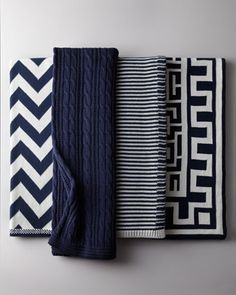 home decor interior design - ShopStyle: Neiman Marcus Navy and White Cotton Throws Nautical Bathrooms, Navy Bathroom Decor, Nautical Home, Nautical Colors, Nautical Bedding, Navy And White, Navy Blue, Home Accessories, Throw Pillows