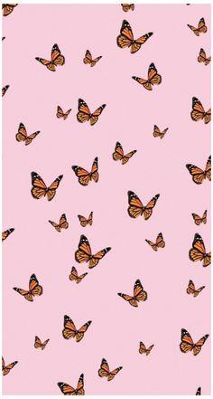 Pastel Pink Wallpaper Iphone, Ed Wallpaper, Butterfly Wallpaper Iphone, Cute Wallpaper Backgrounds, Wallpaper Iphone Cute, Cute Wallpapers, Phone Wallpapers, Pink Wallpaper With Butterflies, Plain Wallpaper
