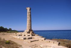 "column of Hera Lacinia temple. It is a trace of the ""Magna Grecia"" in Calabria (Italy)"