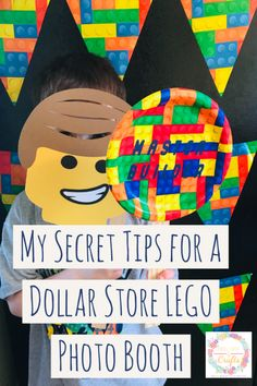 Don't spend a fortune on a LEGO Birthday party, the dollar store has plates and decorations. I'm sharing my secrets of how to make a Dollar Store LEGO Photo Backrop and Props for $3. These ideas are awesome and fun for a cheap kids lego party. #LEGOParty #LEGOS #LEGOBirthday #DollarStore #LEGOPhotoBooth #KidsBirthday #BirthdayParty