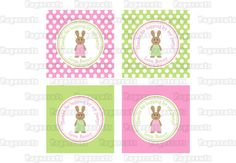 Printable DIY Pink and Green Bunny Rabbit Girl Theme Personalized Birthday Thank You Favor Tags on Etsy, $5.00