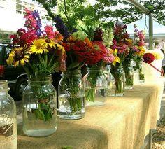 zinnias in mason jars | Making a house a home / mason jars + zinnias = summer soiree