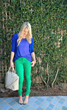 Color Blocking | GBO Fashion Love color blocking, especially with these colors! I love brightly colored pants. Need a pair in green!