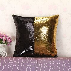 Mermaid Decorative Pillow Cover With Two Tone Sequins