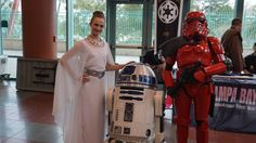 The 501st Legion, a Star Wars fan group that recreates characters of the series, travels around to conventions. Eden Fraizer, a double-major in physics and dance at the University of Tampa, and Dorothy Harrison, a University of South Florida master's student, cosplay Padme Amidala and a red Storm Trooper.