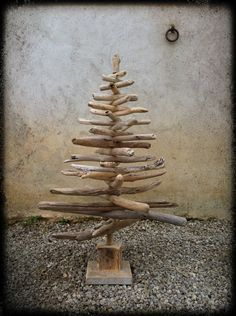 Christmas tree made out of driftwood- i love this idea.