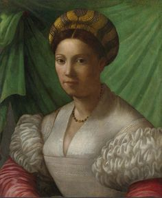 dark beads or pearls with a contrasting center bead  # Portrait of a Lady Portrait of a Lady Italian, Florentine about 1535-50. National Gallery, London by renzodionigi, via Flickr