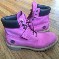 Men's Pink Timberland Boots Great condition breast cancer awareness timberlands. Special edition comfort insoles. Great gift for your favorite guy in your life! Price is firm, but give me an offer I can't refuse! Timberland Shoes Combat & Moto Boots