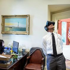 President Obama watches a virtual reality film captured during his trip to…