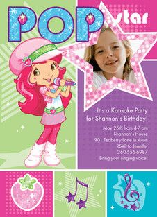 Pop Star Strawberry Shortcake Birthday Party Invitations