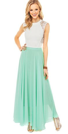 Nextshe Women Fashion Solid Casual Maxi Elegant Chiffon Pleated Skirt Mint Green with Hidden Zipper XS~XXL Size-in Skirts from Women's Clothing & Accessories on Aliexpress.com | Alibaba Group