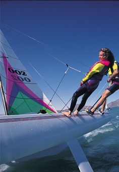 Hobie cat sailing. Hiking out with the wind in your face and water splashing everywhere, the best
