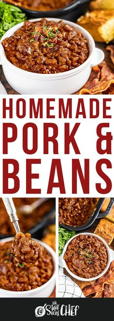 Homemade Pork and Beans are hearty, sweet, tangy, and loaded with serious flavor. We've included instructions in this incredible recipe for the oven, slow cooker, and instant pot to make this the easiest pork and beans ever! You're going to want to give this a try for the most delicious dinner, tailgate, or game day food! Bean Recipes, Side Dish Recipes, Pork Recipes, Slow Cooker Recipes, Fall Recipes, Cooking Recipes, Veggie Dishes, Food Dishes