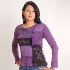 Patch work hippy embroidered top