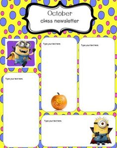 Free printable despicable me minions calendar sheets minions minion newsletter template toneelgroepblik Images