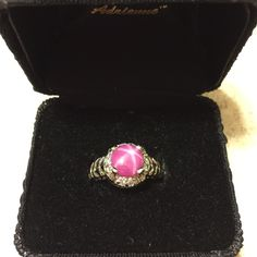 925 Sterling Silver Ring with Pink Star Sapphire Sterling Silver Filigree design ring with a beautiful pink star sapphire stone surrounded by a cubic zirconia halo. Approximately a size 5 ring. It looks brand new ☺️ Jewelry Rings
