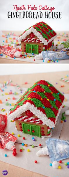 North Pole Cottage Gingerbread House - Make a festive North Pole Cottage Gingerbread House with Wilton Icing Pouches. This is a fun project for anyone who is new to gingerbread house decorating and, since you need very few supplies, this makes a great project for a young family to do together. So turn off the TV, gather the family together this holiday season and start a new family tradition with this festive and fun DIY gingerbread house!