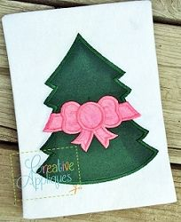 Tree with Bow Applique - 4 Sizes!   What's New   Machine Embroidery Designs   SWAKembroidery.com Creative Appliques