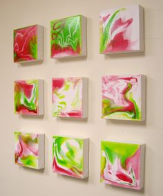 Large Modern Art Abstract Canvas Painting on 9 6x6 Canvases Hot Pink Lime Green Liquid Poured Art Colorful Vivid 24x24x1.5 JMichael