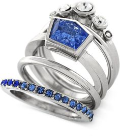 Vince Camuto Rhodium-Tone Blue and Clear Crystal Stacked Ring