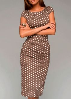 Free shipping Polka Dot Short Sleeve Sheath Dress