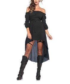 Love this Leg Avenue Black Off-Shoulder High-Low Dress - Plus Too by Leg Avenue on #zulily! #zulilyfinds