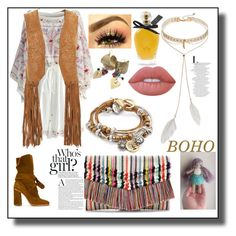 """""""Boho style"""" by nanitas23 on Polyvore featuring Casadei, Chicwish, Stella & Dot, Monsoon, Lizzy James, Lime Crime, EB Florals and Bølo"""