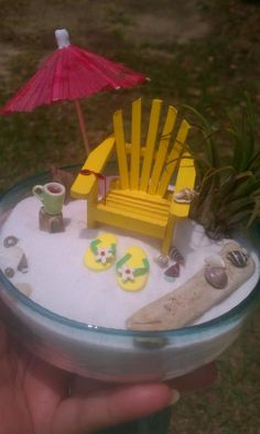 Cute idea for small Fairy Garden perhaps on deck table and chairs!