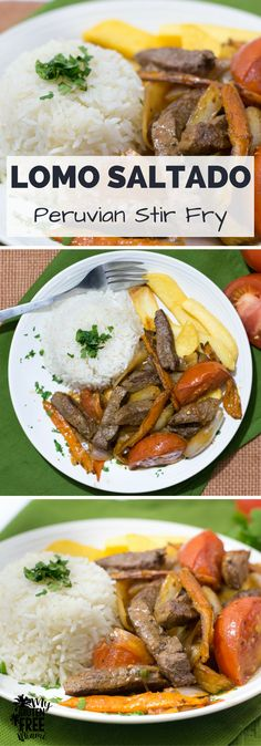 Lomo Saltado, traditional Peruvian Stir Fry- Steak, onions, peppers and tomatoes served over french fries. The perfect one pan meal for kids and adults. Gluten Free/Dairy Free via @GLUTENFREEMIAMI