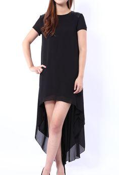 Black Short Sleeve High Low Dress - Sheinside.com