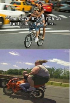 funny caption when boys let you ride on the back of their bikes large woman on motorcycle