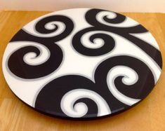 Lazy Susan handmade painted wood modern design by FucsiaDesigns Ceramic Painting, Painting On Wood, Pottery Painting, Painted Rocks, Hand Painted, Painted Wood, Fused Glass Art, Lazy Susan, Clear Resin