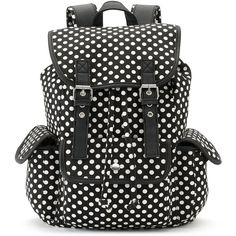 Candie's Anna Dotted Backpack (Blue) ($30) ❤ liked on Polyvore featuring bags, backpacks, blue, canvas backpack, canvas bag, polka dot canvas backpack, canvas knapsack and polka dot backpack