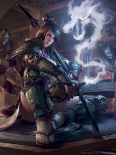 ArtStation - Gourd Dragon and Ronin Woman, Justice Wong Fantasy Girl, Fantasy Warrior, Fantasy Women, Fantasy Character Design, Character Design Inspiration, Character Art, Character Concept, Ronin Samurai, Female Samurai Art