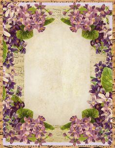 Sweet Violets Stationery   Lilac & Lavender- Printable
