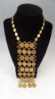 Emperor Napoleon Gold Coin Bib Statement Necklace Dramatic Runway Drippy Heavy