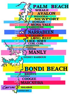 Sydney Beaches / print by seacar on Etsy