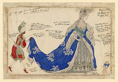 Costume design for the Queen and her page (in Act I) 1921